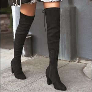 Shoes - Over The Knee Black Heel Boots